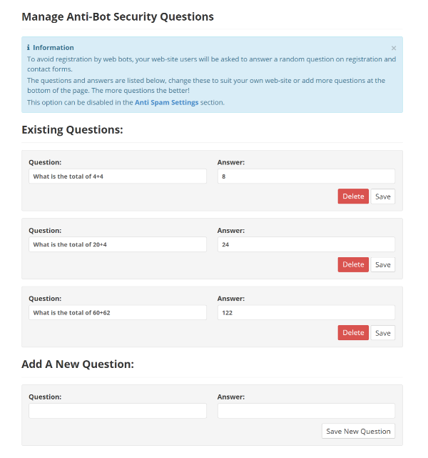 Manage Anti-Bot Security Questions