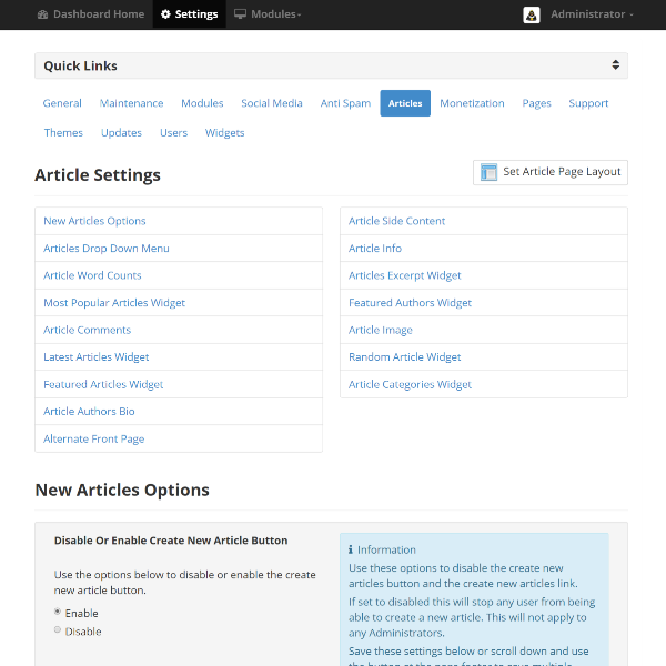 Article Settings