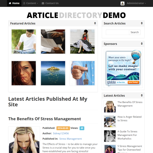 Article Directory Script Index Page