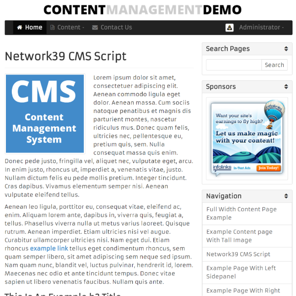 Content Management Script Live Demonstration