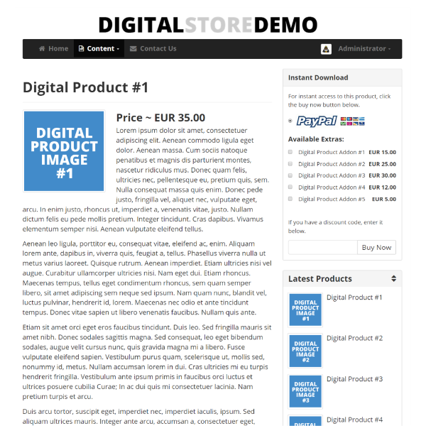 Digital Store Script Product Page