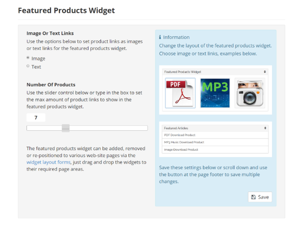 Featured Products Widget Settings