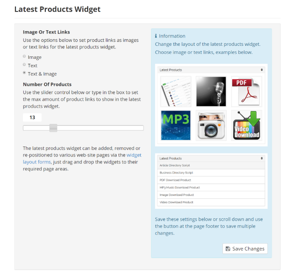 Latest Products Widget Settings
