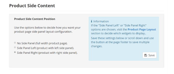Digital Product Page Side Content Settings