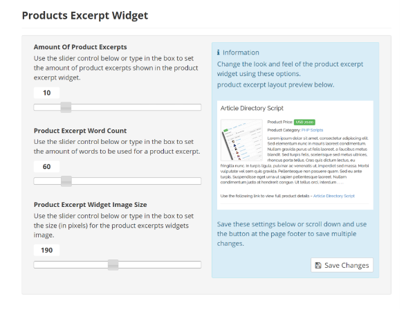 Products Excerpt Widget Settings