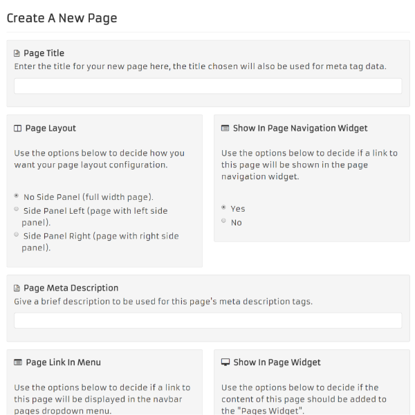 Create New Content Page