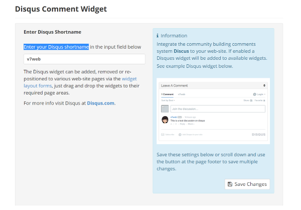 Disqus Comment Widget Settings