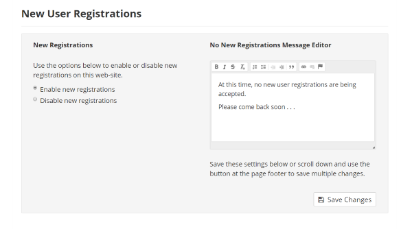 New User Registrations Settings