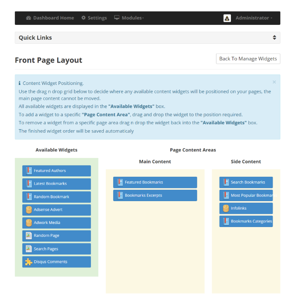 Index Page Widget Layout