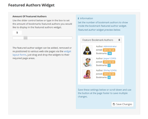 Featured Authors Widget Settings