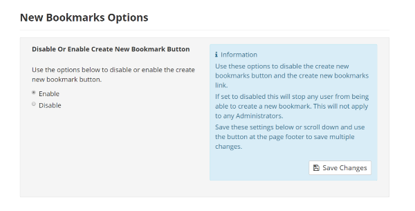 Bookmarks Settings New Bookmark Options