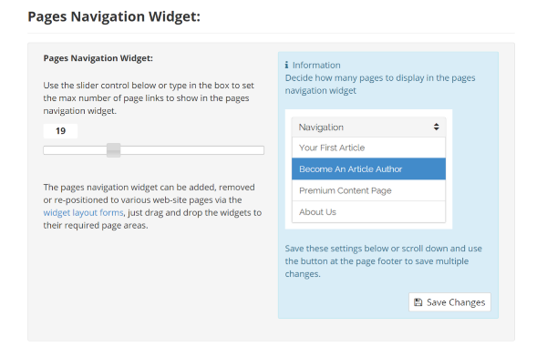 Pages Navigation Widget Settings