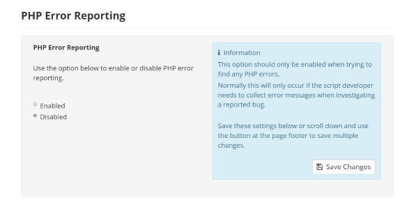 PHP Error Reporting