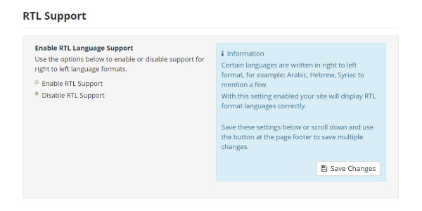 RTL Support Settings