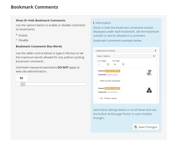 Bookmarks Settings Manage Bookmark Comments
