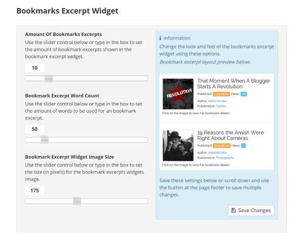 Bookmark Excerpt Widget Settings