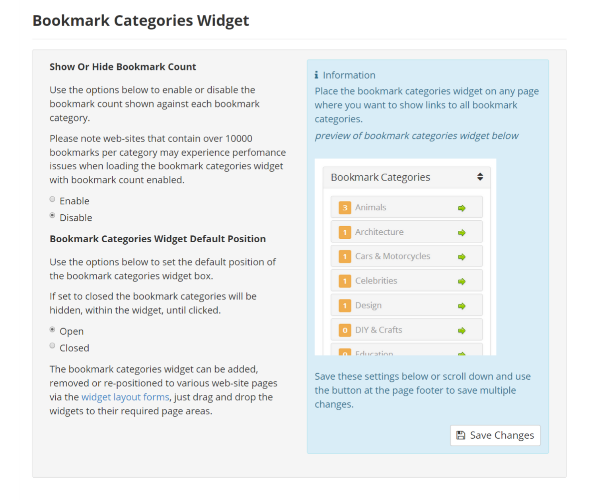 Bookmark Categories Widget