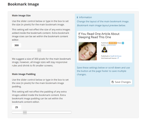 Bookmark Image Settings
